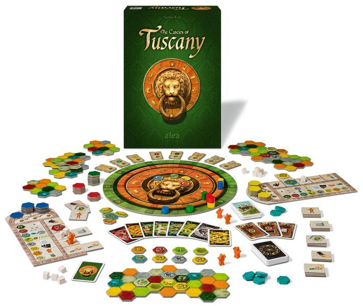 The Castles of Tuscany board game components and setup