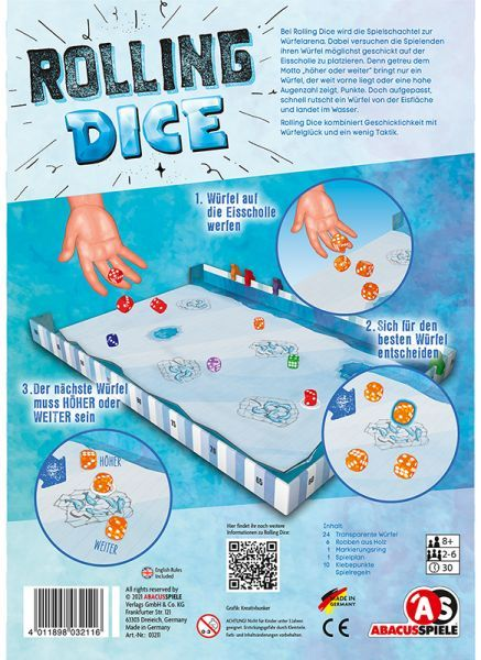 Rolling Dice Abacus Spiele Back of box